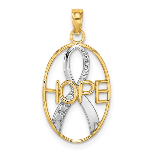 14k Yellow Gold and Rhodium Textured Hope w/Ribbon Pendant