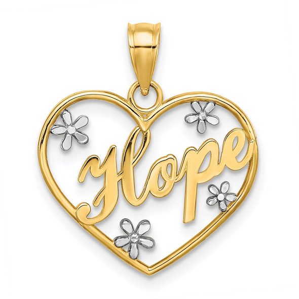 14k Yellow Gold and Rhodium Hope In Heart w/Flower Pendant