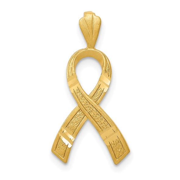 14k Yellow Gold Diamond-cut Awareness Pendant C904