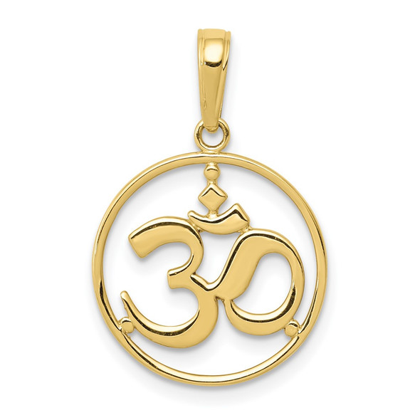 10k Yellow Gold Cut-Out Round Frame Yoga Om Symbol Pendant