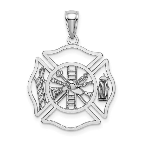14k White Gold Fireman Shield Pendant