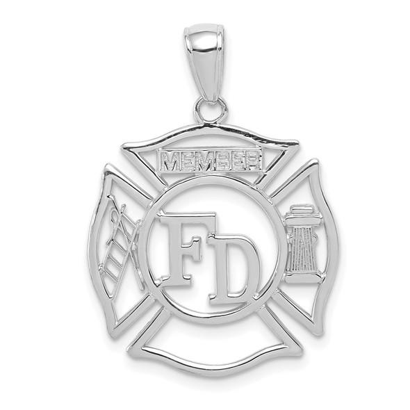 14K White Gold FD Member In Shield Pendant