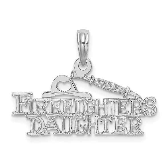 14k White Gold FIREFIGHTERS DAUGHTER Pendant