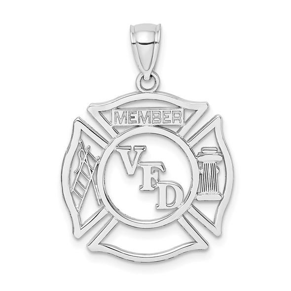 14k White Gold Volunteer Fire Department Vfd Member Shield Pendant