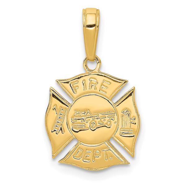 14k Yellow Gold Fire Dept Shield Pendant