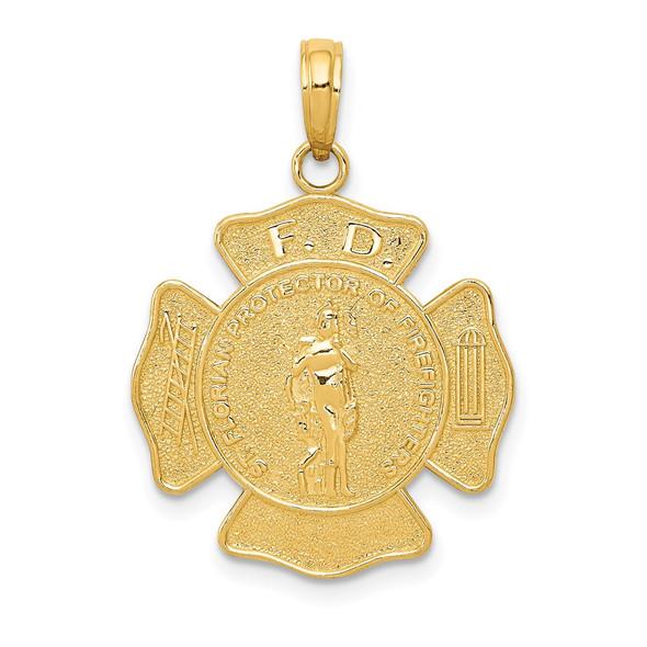 14k Yellow Gold Fire Department FD St. Florian Badge Pendant