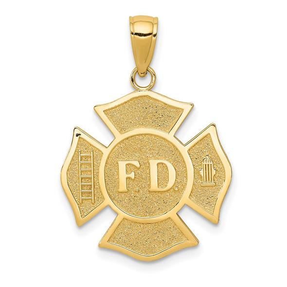 14k Yellow Gold Fire Department FD Badge Pendant