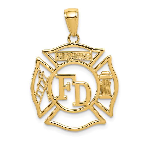 14k Yellow Gold Fd Member In Shield Pendant