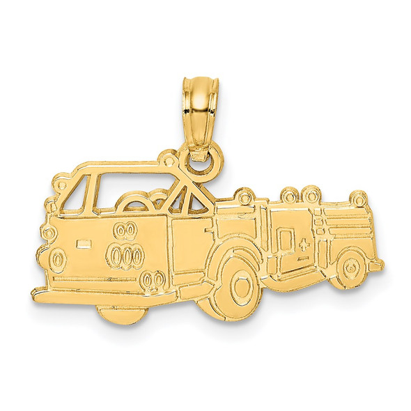 14k Yellow Gold Fire Truck Pendant C3103