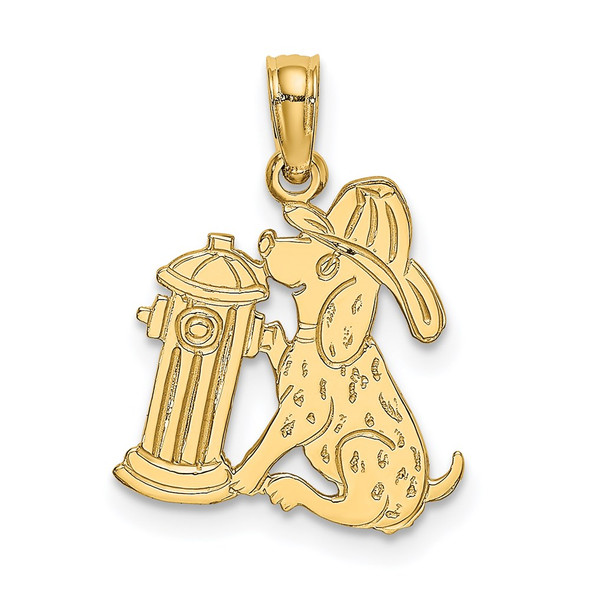 14k Yellow Gold Fire Hydrant and Dog Pendant