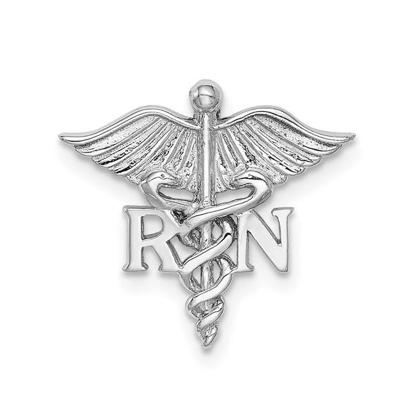 14k White Gold Polished RN Medical Slide