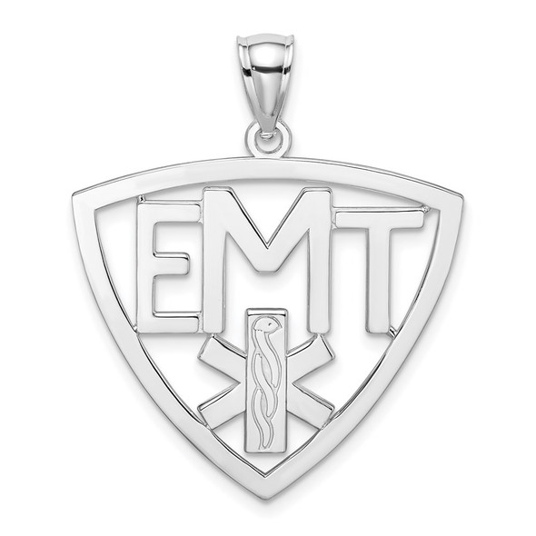 14k White Gold Polished and Cut-Out EMT Pendant