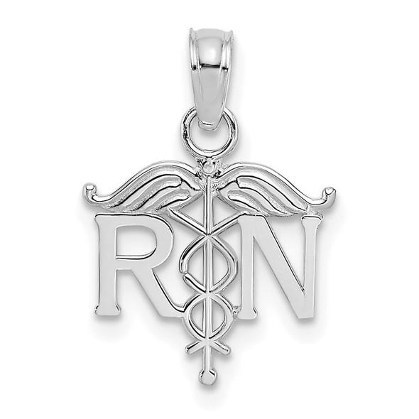 10k White Gold Registered Nurse Pendant