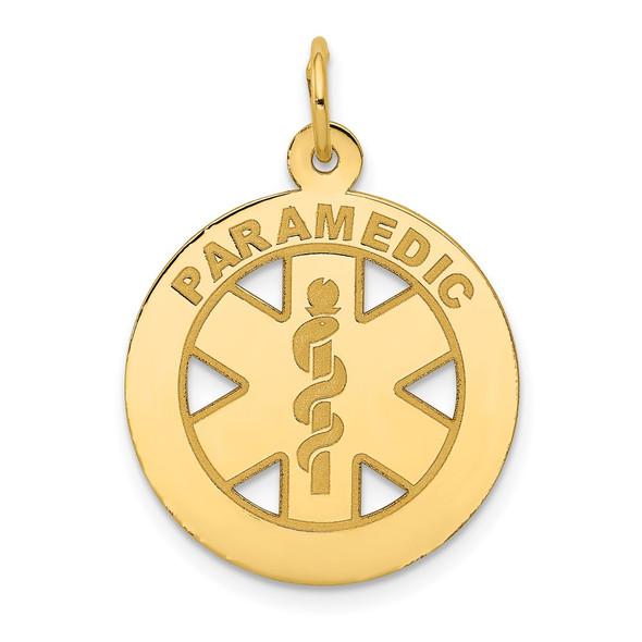 14k Yellow Gold Medium Paramedic Medical Pendant