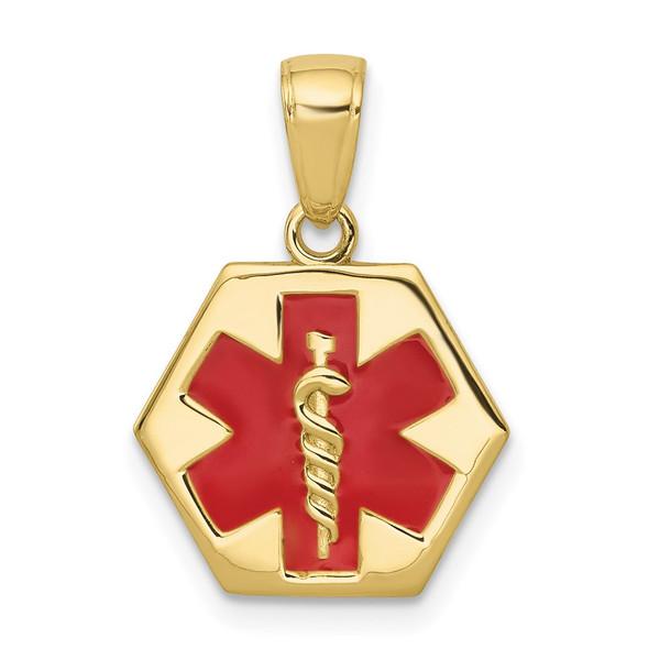 10k Yellow Gold Enameled Medical Disk Pendant