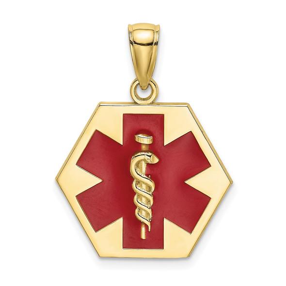 10k Yellow Gold Enameled Medical Disc Pendant