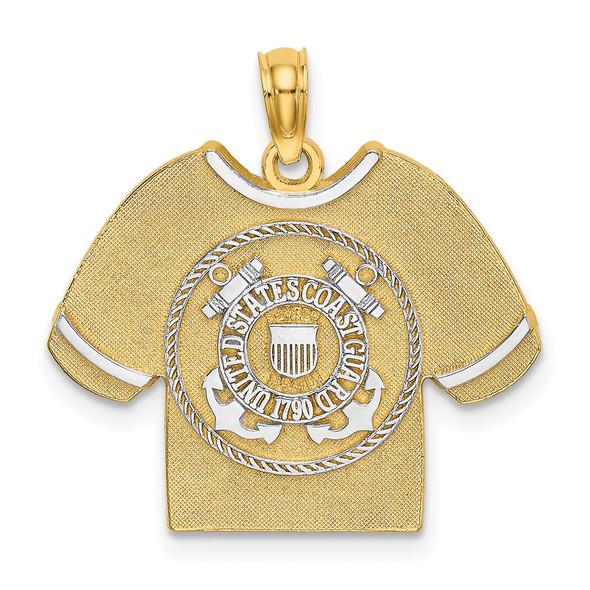 14k Yellow Gold and Rhodium US Coast Guard T-Shirt w/Emblem Pendant