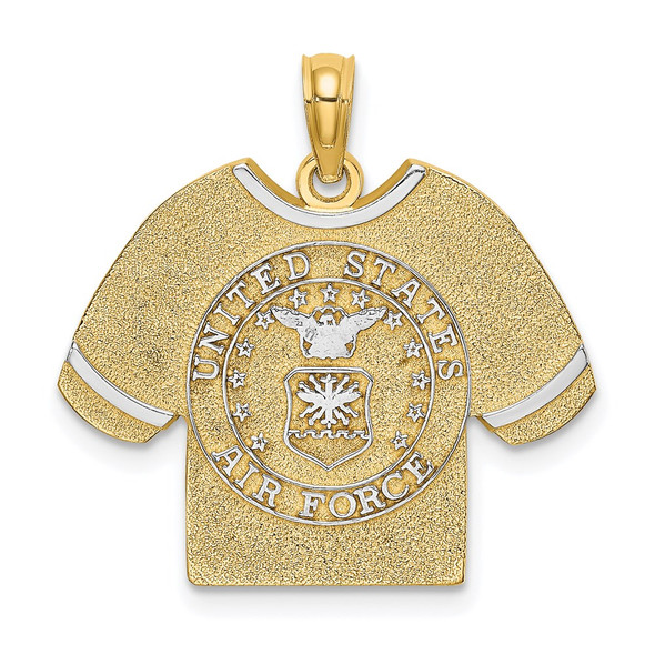 14k Yellow Gold and Rhodium US Air Force T-Shirt Pendant