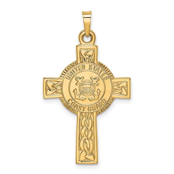 14k Yellow Gold Cross w/Coast Guard Insignia Pendant