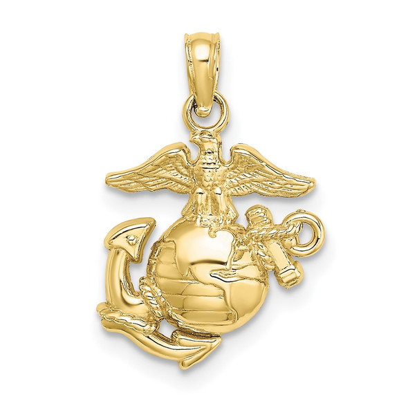 10k Yellow Gold Polished and Textured Small Marine Corps Pendant