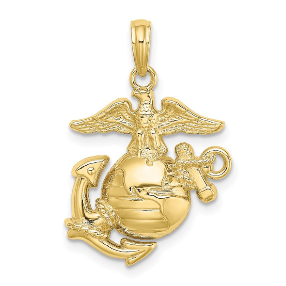 10k Yellow Gold Polished and Textured Marine Corps Pendant