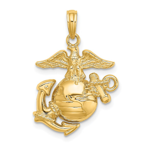 14k Yellow Gold Polished and Textured Marine Corps Pendant