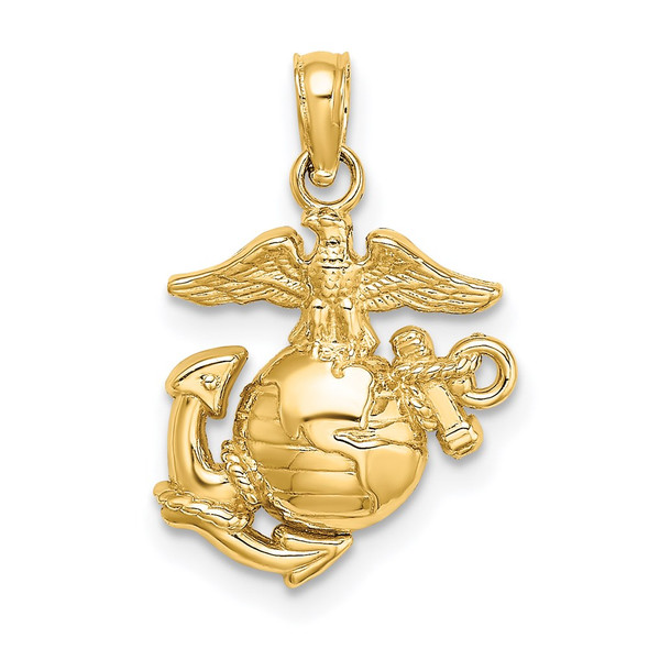 14k Yellow Gold Polished and Textured Small Marine Corps Pendant