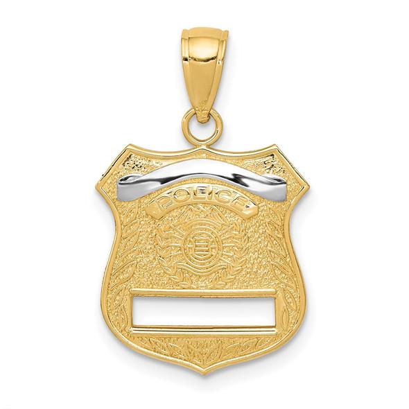 14k Yellow Gold And Rhodium Police Badge Pendant