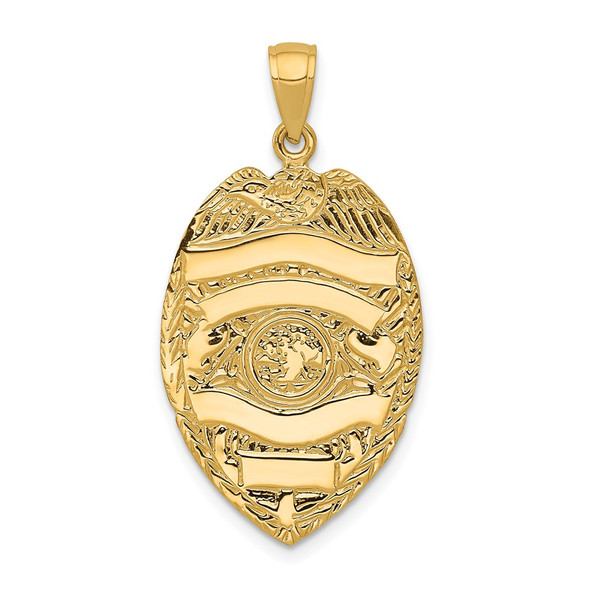 14k Yellow Gold Large Badge Pendant