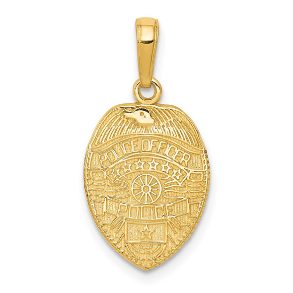 14k Yellow Gold Police Officer Badge Pendant