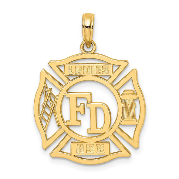 14k Yellow Gold Fd Ladies Aux In Shield Pendant