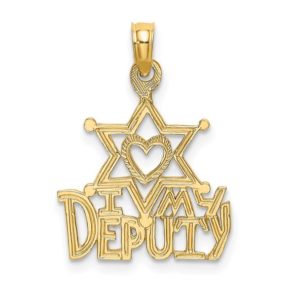 14k Yellow Gold I Heart My Deputy Pendant