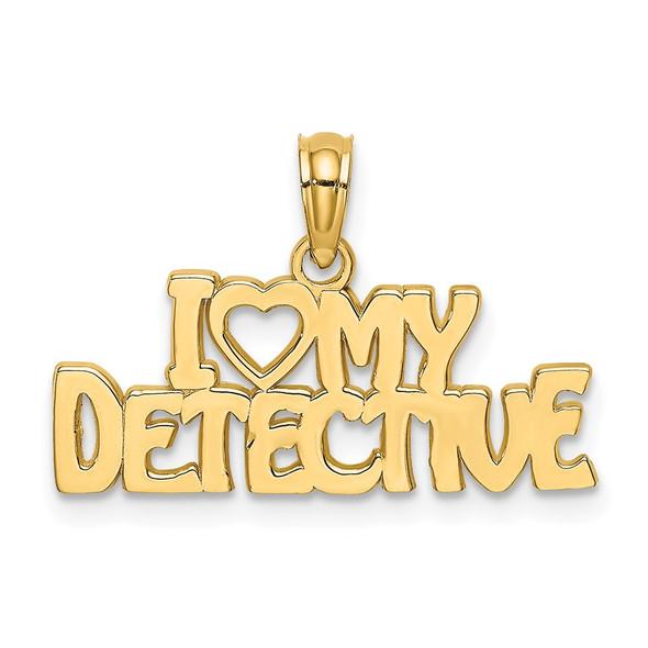 14k Yellow Gold I Heart My Detective Pendant
