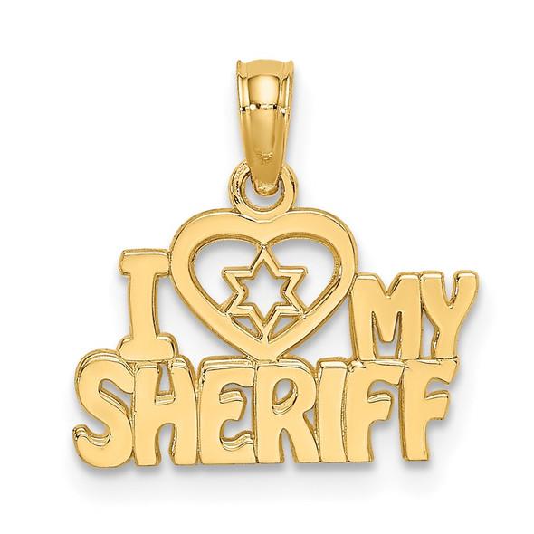 14k Yellow Gold I HEART MY SHERIFF Pendant