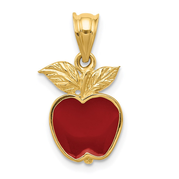 14k Yellow Gold Polished Red Enameled Apple Pendant