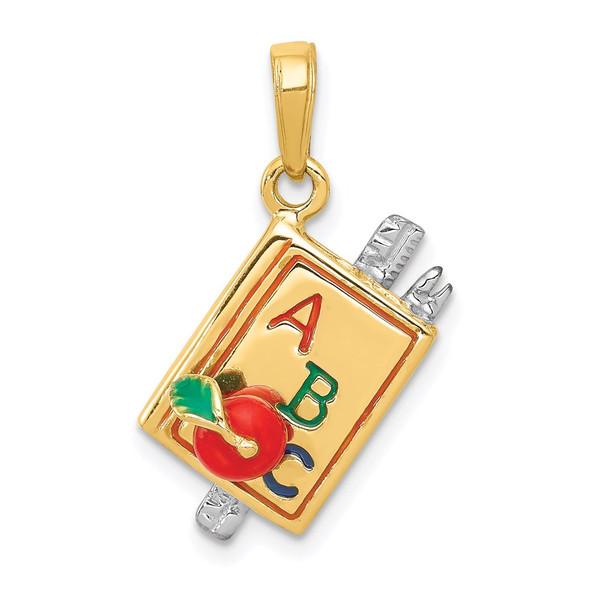 14k Yellow Gold Enameled Abc School Book Pendant