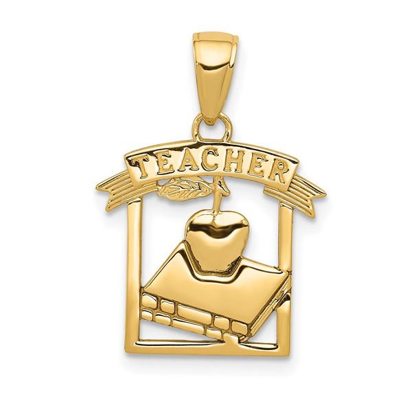 14k Yellow Gold Polished Flat-Backed TEACHER Pendant