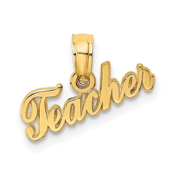 14k Yellow Gold Teacher Pendant