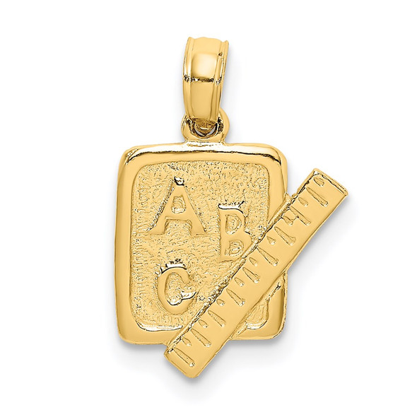 14k Yellow Gold School Book and Ruler Pendant