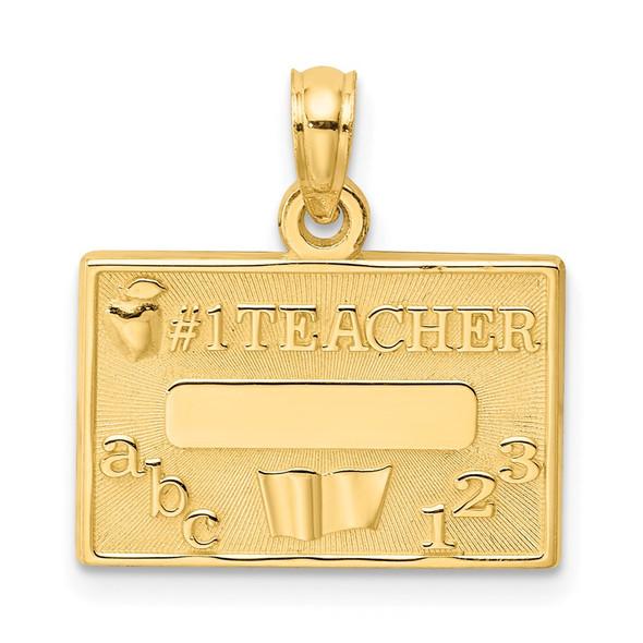 14k Yellow Gold #1 Teacher Pendant C3119