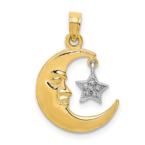 14k Yellow and White Gold Polished Open-Backed Half Moon and Star Pendant