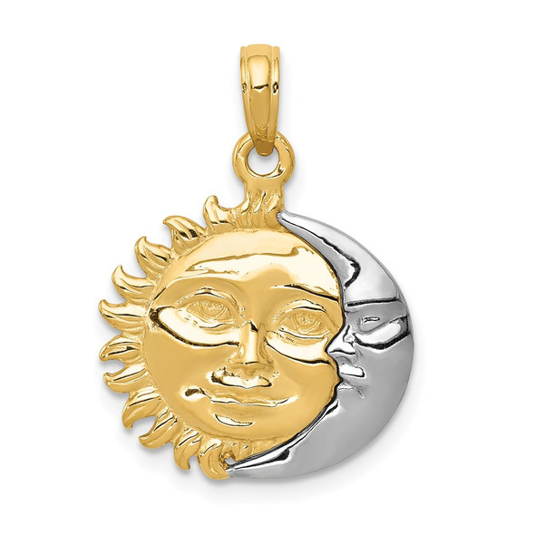 14k Yellow and White Gold Solid Polished 3-Dimensional Sun and Moon Pendant