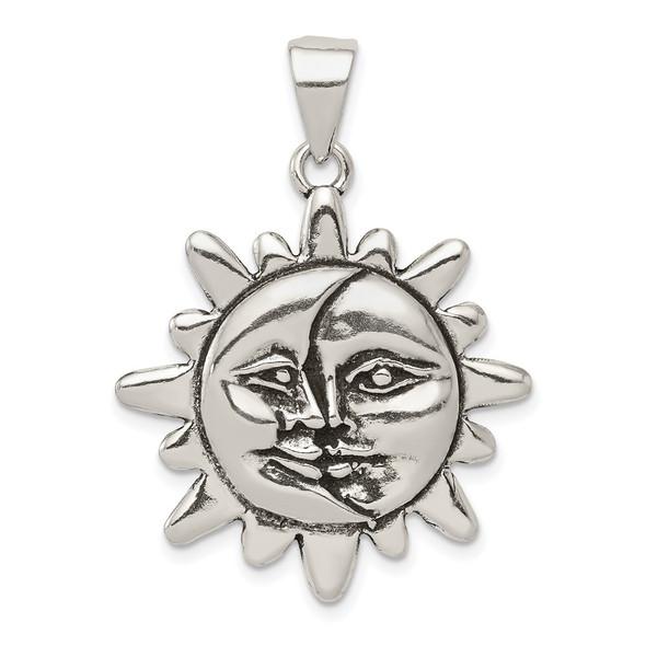 Sterling Silver Antiqued Sun & Half Moon Face Pendant
