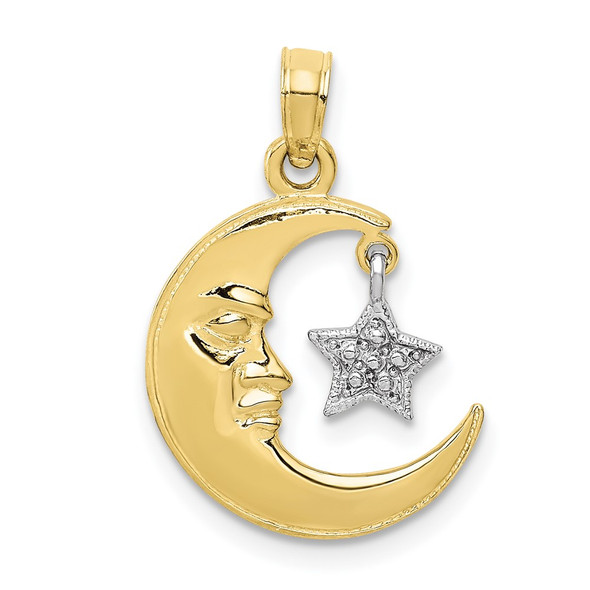 10k Yellow and White Gold Polished Open-Backed Half Moon and Star Pendant