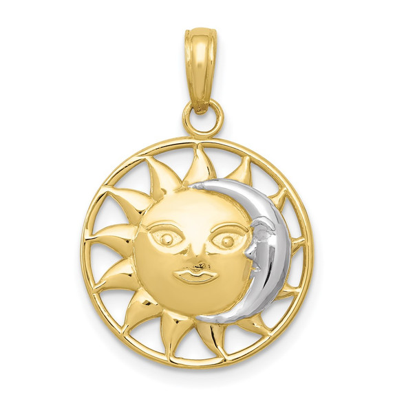 10k Yellow Gold with Rhodium-Plating Sun and Moon Pendant