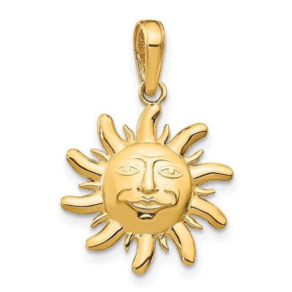 14k Yellow Gold Diamond-Cut Small Sun Pendant
