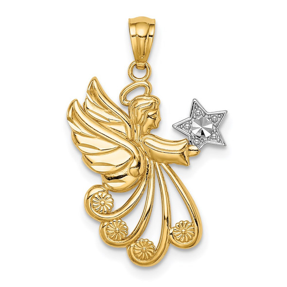 14k Yellow Gold w/Rhodium Diamond-cut Angel with a Star Pendant