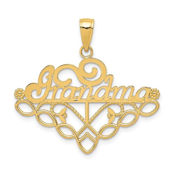14k Yellow Gold GRANDMA Birthstone Holder Charm Holder Pendant