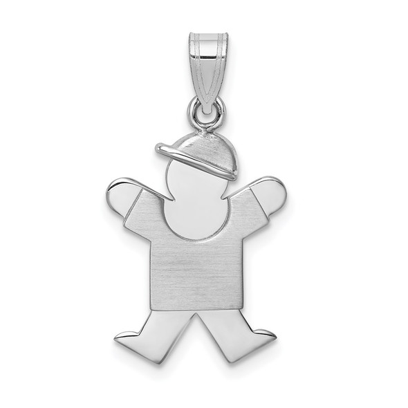 14k White Gold Small Boy w/Hat On Right Pendant XK303