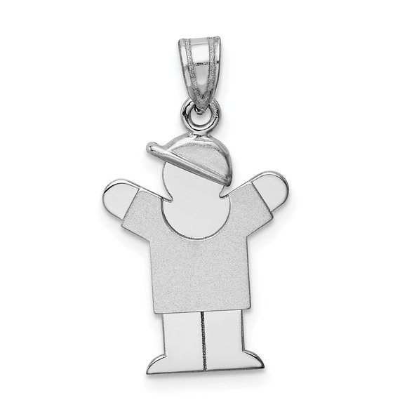 14k White Gold Small Boy w/Hat On Right Pendant XK301